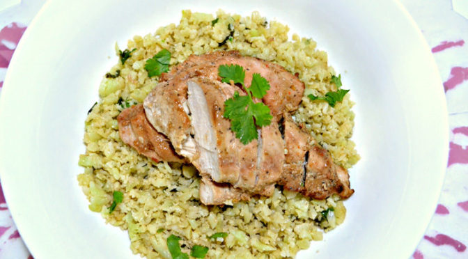 "Grilled Chipotle Chicken & Cauliflower ""Rice"""